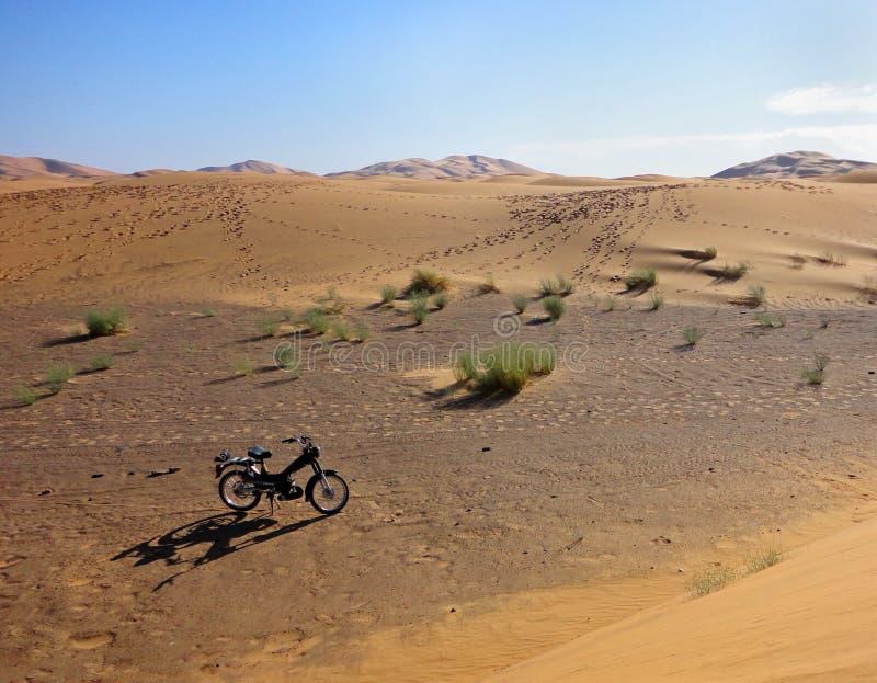Motorcykel i öknen royaltyfria foton