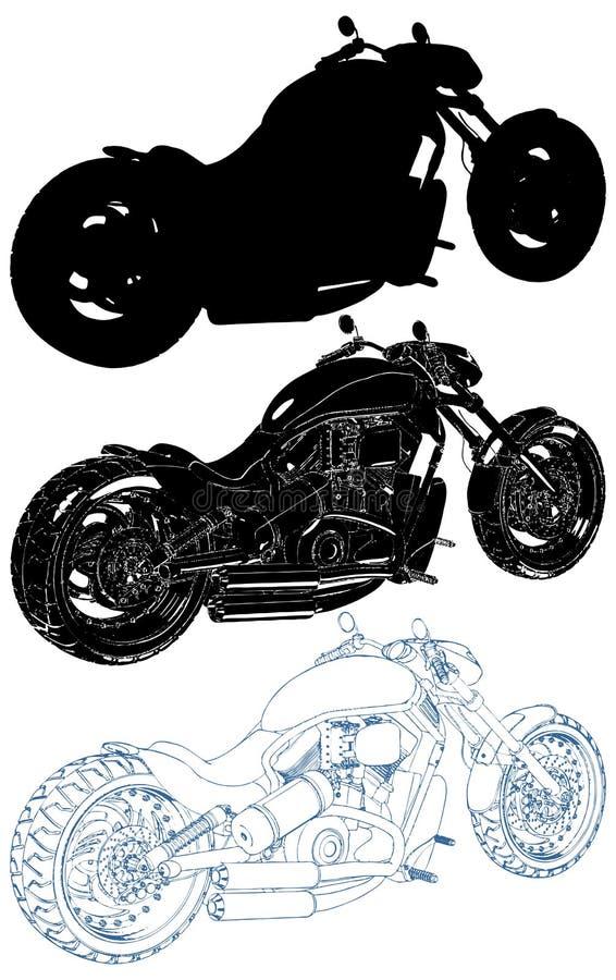 Motorcykel isolerad illustration på den vita vektorn royaltyfri illustrationer