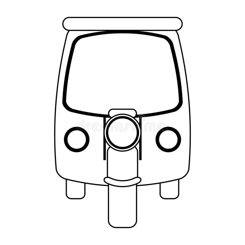 Motorcykel med det svartvita kabinmedlet stock illustrationer