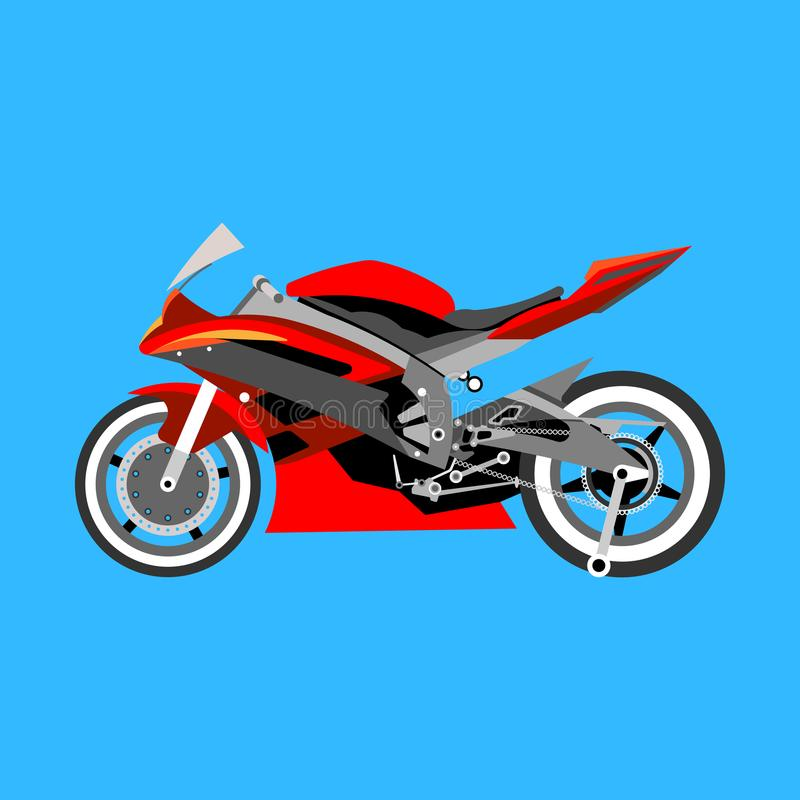 Motorcykel med många detaljer på en blå bakgrund royaltyfri illustrationer