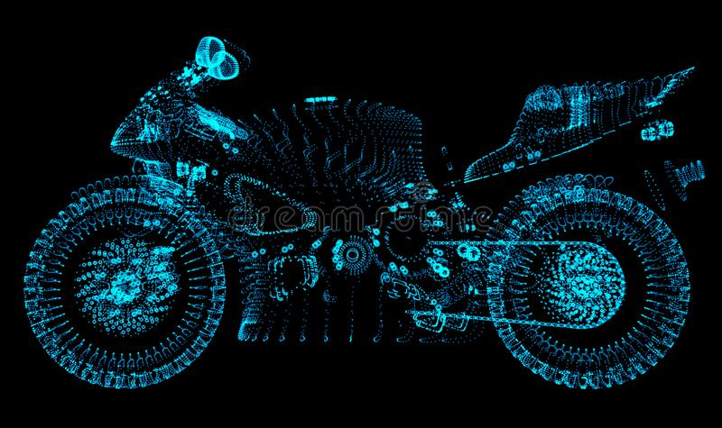 motorcykel Mopeden består prickar på en svart bakgrund vektor illustrationer