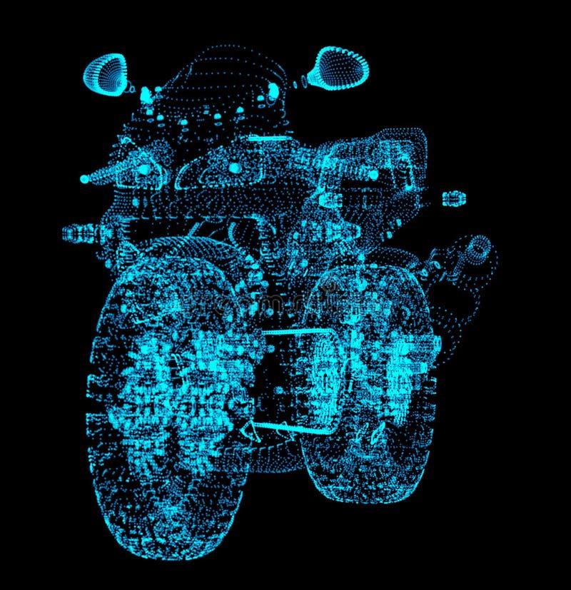 motorcykel Mopeden består prickar på en svart bakgrund royaltyfri illustrationer