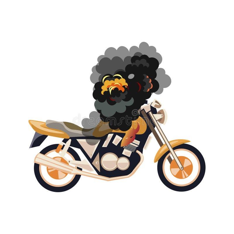 Motorcykel motobike på brand, objekt stock illustrationer