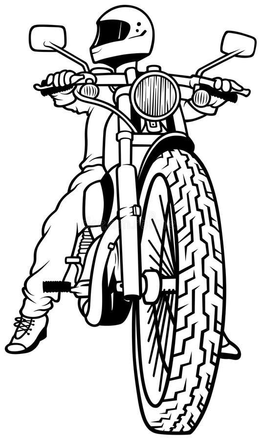 Motorcykel och chaufför royaltyfri illustrationer