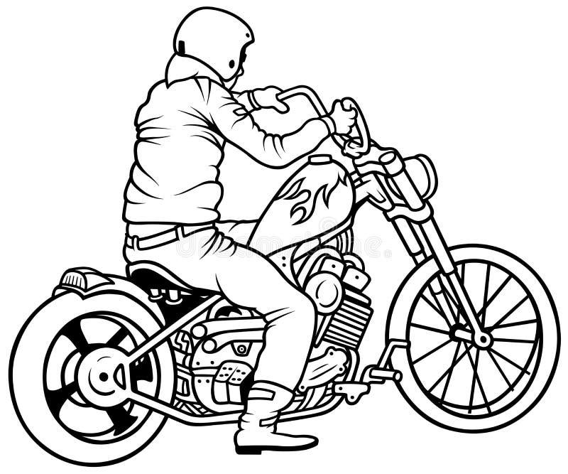 Motorcykel och chaufför vektor illustrationer