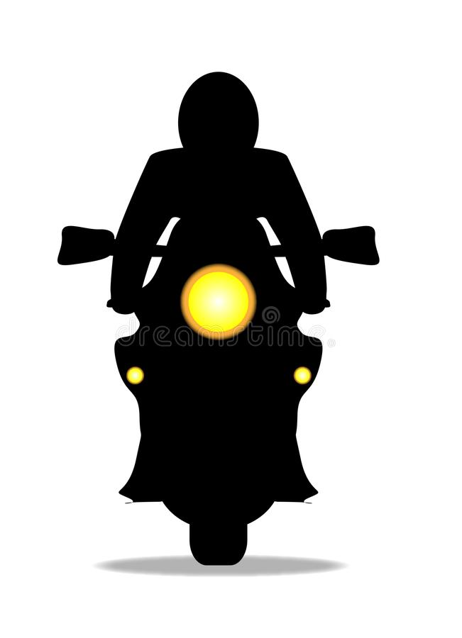 Motorcykel och Rider In Silhouette On White royaltyfri illustrationer