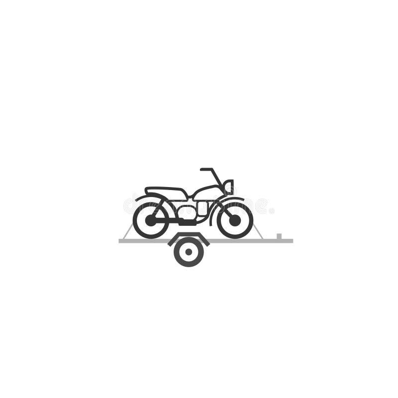 Motorcykel på bilsläpsymbol vektor illustrationer