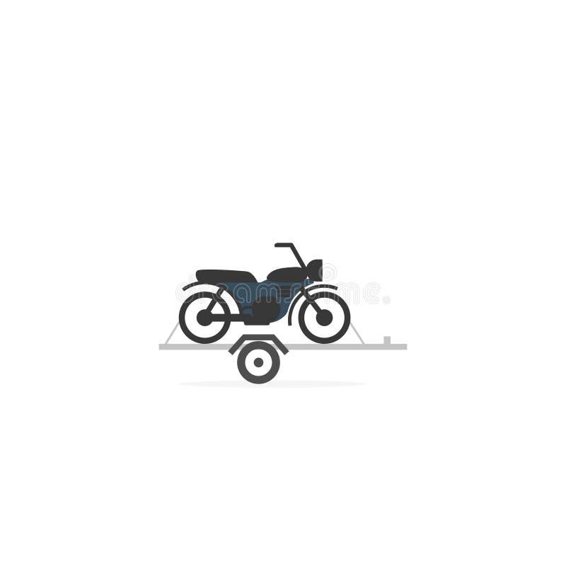 Motorcykel på bilsläpsymbol royaltyfri illustrationer