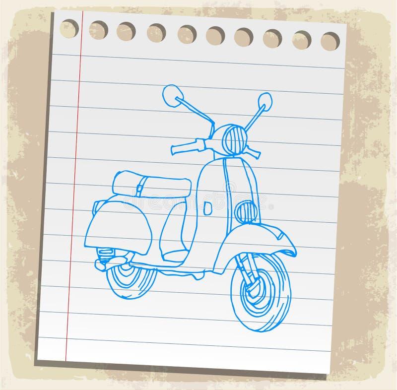 Motorcykel på den pappers- anmärkningen, vektorillustration royaltyfri illustrationer