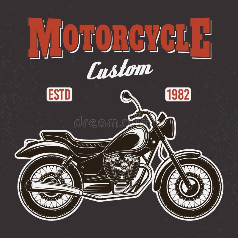 Motorcykel på mörkt bakgrundsvektort-skjorta tryck vektor illustrationer
