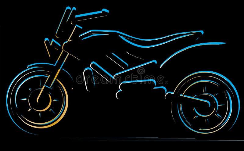Motorcykel på svart bakgrund, motoillustration stock illustrationer