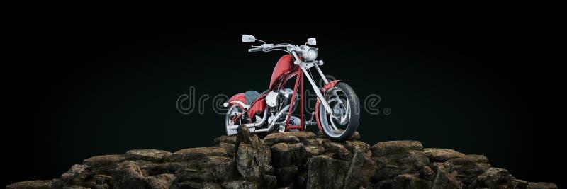 Motorcykel p? solnedg?ngen 3d stock illustrationer