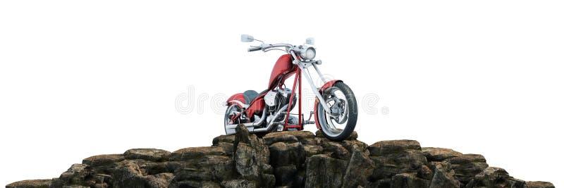 Motorcykel p? solnedg?ngen 3d royaltyfri illustrationer