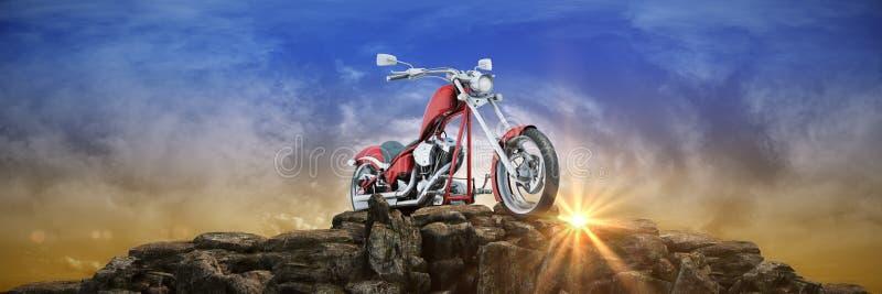 Motorcykel p? solnedg?ngen 3d vektor illustrationer
