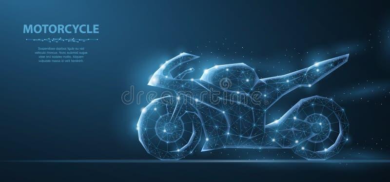 motorcykel Polygonal wireframeingrepp på blå natthimmel med prickar, stjärnor och blickar som konstellation Illustration eller stock illustrationer