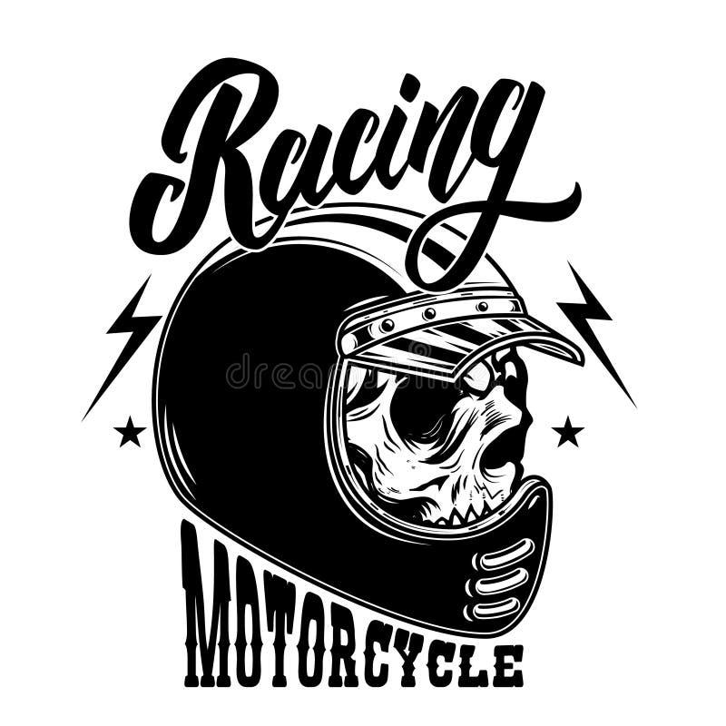Motorcykel Racing Cyklistskalle i racerbilhjälm För logo etikett, tecken, affisch, kort royaltyfri illustrationer