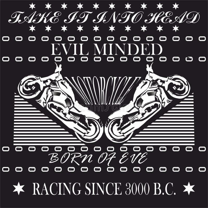 Motorcykel Racing, monokrom grafisk design för skjortan, emblem, logo vektor illustrationer