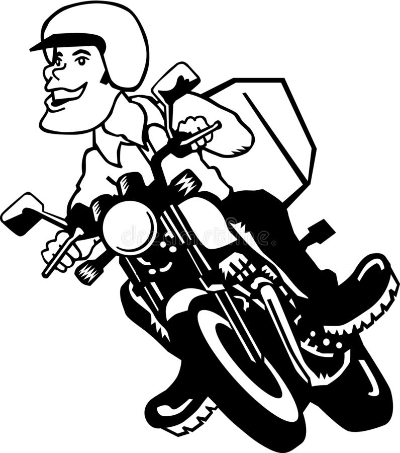 Motorcykel Rider Vector Cartoon Illustration vektor illustrationer