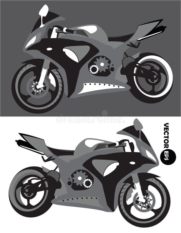Motorcykel sats för sportkropp, monokrom vektor som isoleras på svartvit bakgrund motorbike Sportbike Transport stock illustrationer