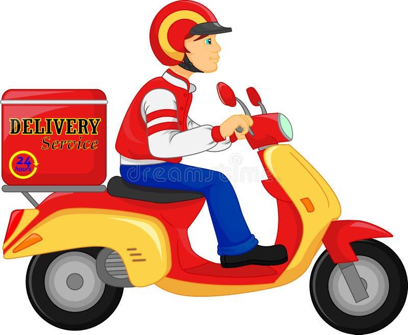 Motorcykel Servic för sparkcykel för ritt för leveranspojke vektor illustrationer