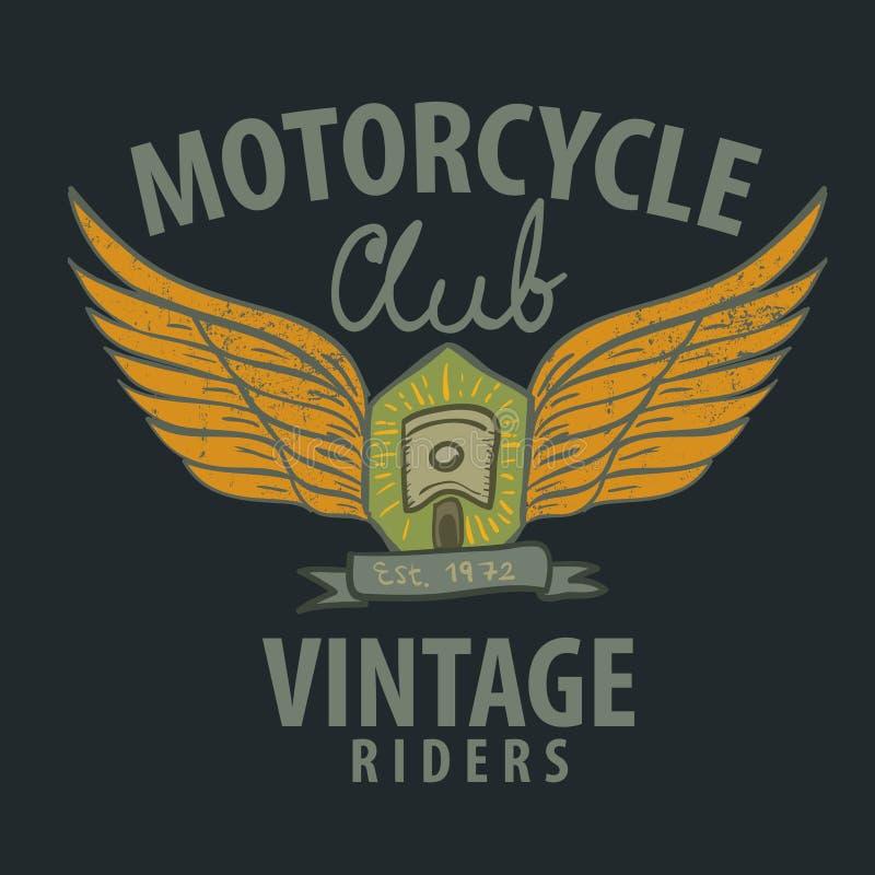 Motorcykel som är typografisk för t-skjortan, utslagsplatsdiagram royaltyfri illustrationer