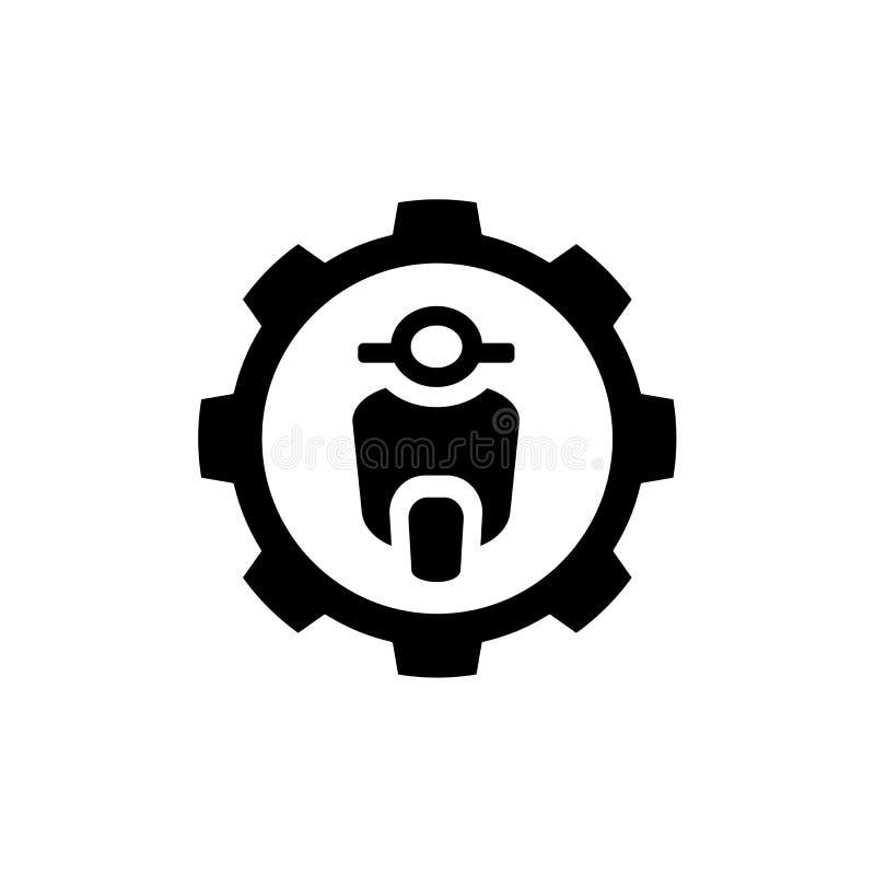 Motorcykel som kombineras med kugghjulsymbolet, vektor Logo Design, enkel symbolsillustration stock illustrationer