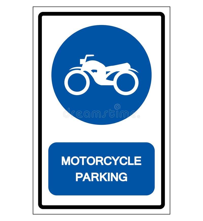 Motorcykel som parkerar symboltecknet, vektorillustration, isolat på den vita bakgrundsetiketten EPS10 stock illustrationer