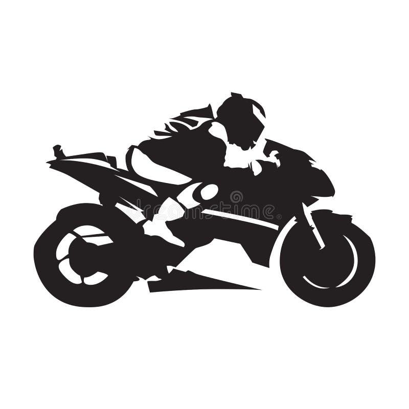 Motorcykel som springer, abstrakt vektorkontur Slapp fokus Väg M royaltyfri illustrationer