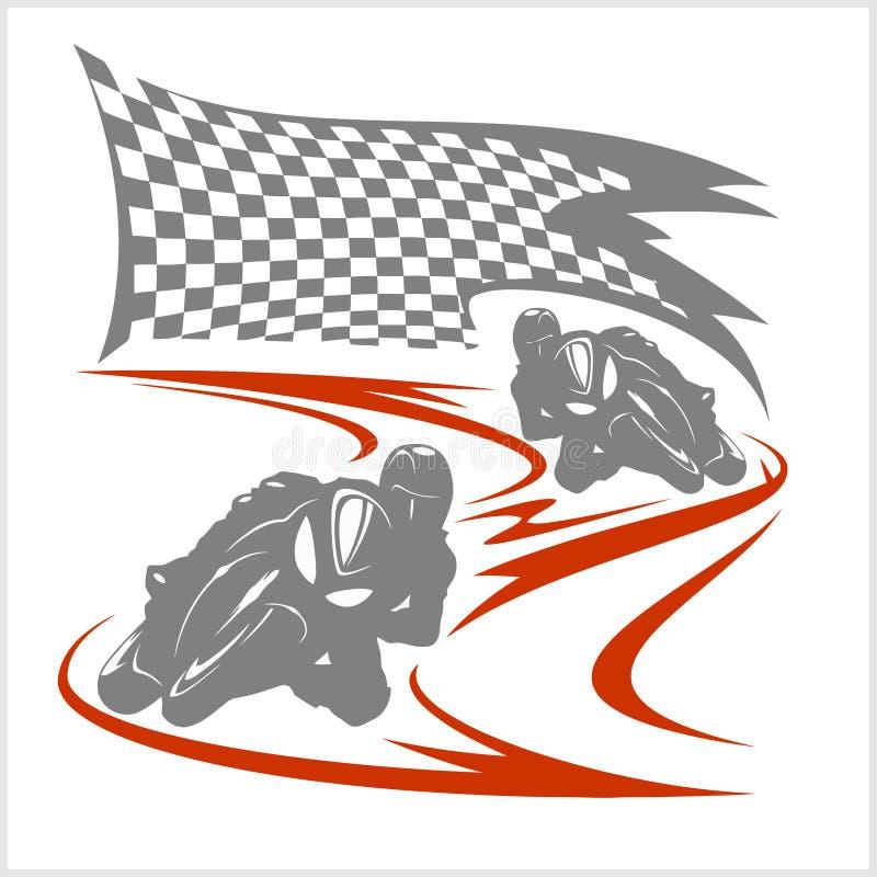 Motorcykel som springer på löparbanan och den rutiga flaggan stock illustrationer