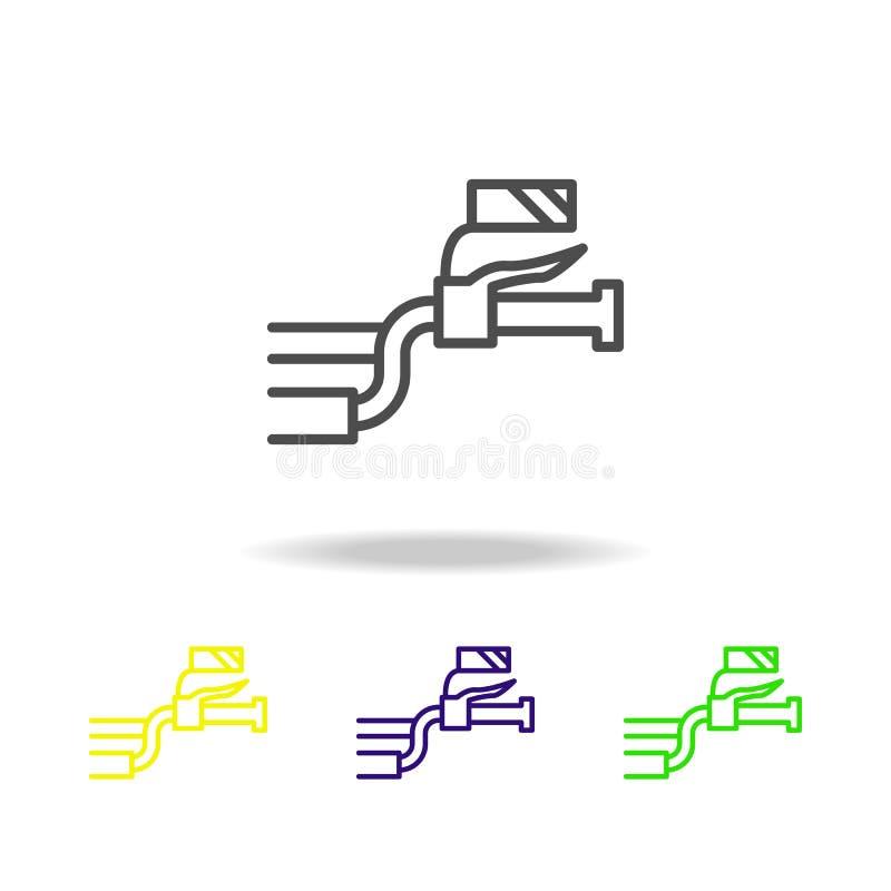 motorcykel som styr kulöra symboler Beståndsdel av mopeden för mobil begrepps- och rengöringsdukappsillustration Gör linjen symbo vektor illustrationer