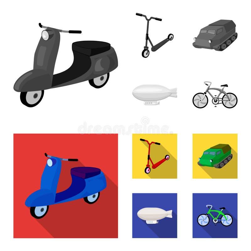 Motorcykel sparkcykel, bepansrad personalbärare, aerostattyper av transport Fastställda samlingssymboler för transport in vektor illustrationer