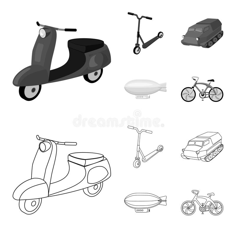 Motorcykel sparkcykel, bepansrad personalbärare, aerostattyper av transport Fastställda samlingssymboler för transport i översikt vektor illustrationer
