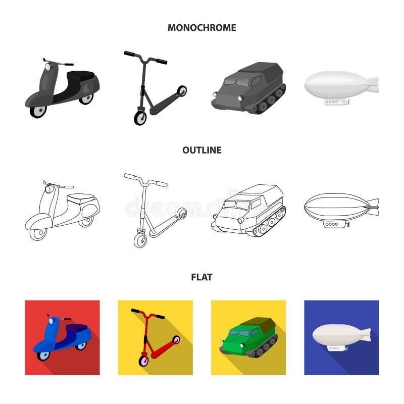 Motorcykel sparkcykel, bepansrad personalbärare, aerostattyper av transport Fastställda samlingssymboler för transport i lägenhet royaltyfri illustrationer