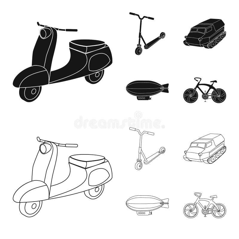 Motorcykel sparkcykel, bepansrad personalbärare, aerostattyper av transport Fastställda samlingssymboler för transport i svart stock illustrationer