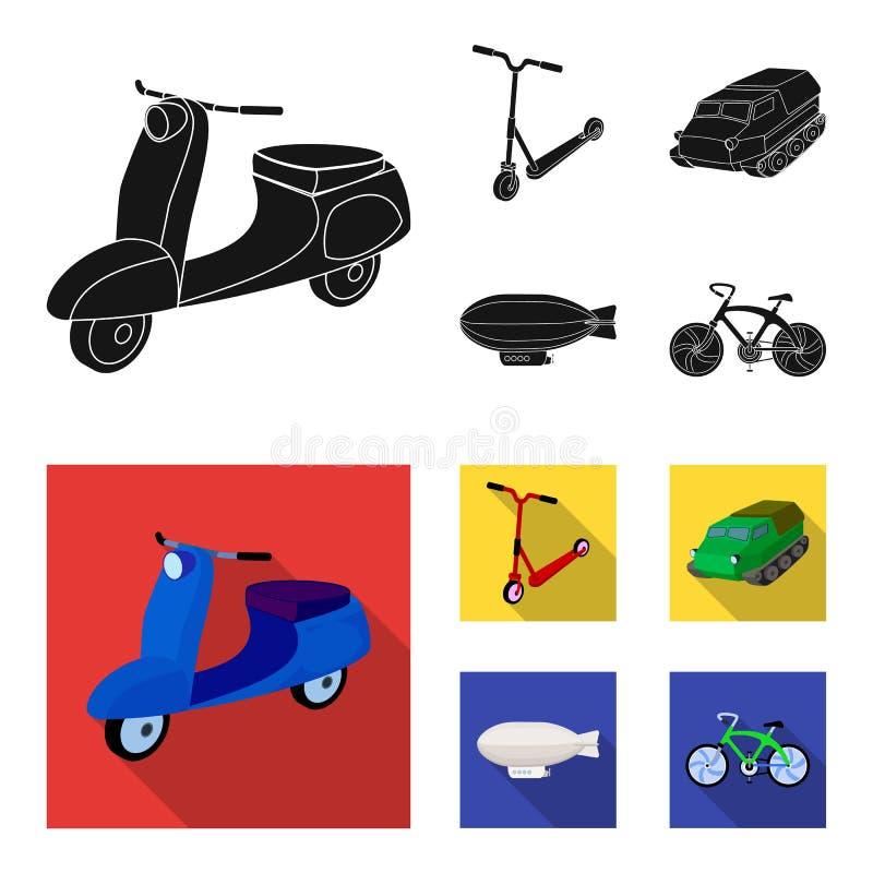 Motorcykel sparkcykel, bepansrad personalbärare, aerostattyper av transport Fastställda samlingssymboler för transport i svart royaltyfri illustrationer
