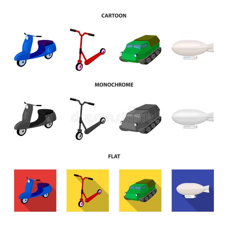 Motorcykel sparkcykel, bepansrad personalbärare, aerostattyper av transport Fastställda samlingssymboler för transport i tecknad  royaltyfri illustrationer