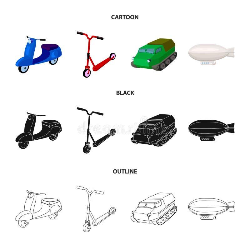 Motorcykel sparkcykel, bepansrad personalbärare, aerostattyper av transport Fastställda samlingssymboler för transport i tecknad  vektor illustrationer
