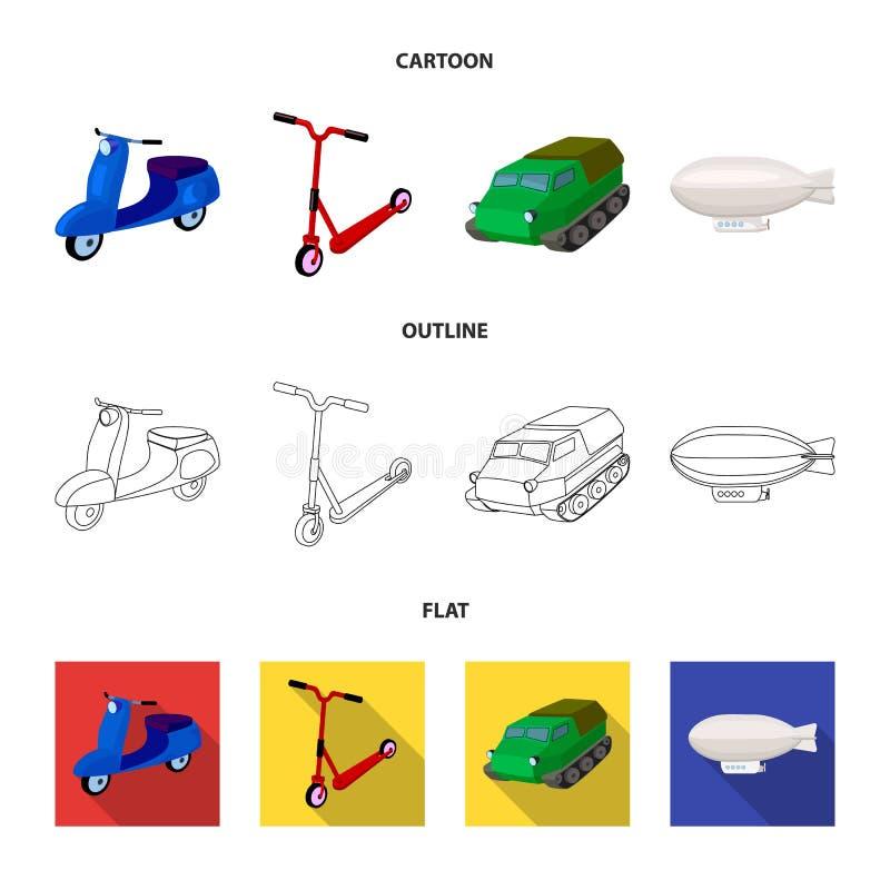 Motorcykel sparkcykel, bepansrad personalbärare, aerostattyper av transport Fastställda samlingssymboler för transport i tecknad  stock illustrationer