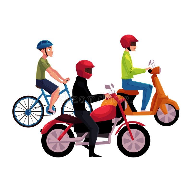 Motorcykel-, sparkcykel- och cykelchaufförer, ryttare som bär hjälmen, sidovew stock illustrationer