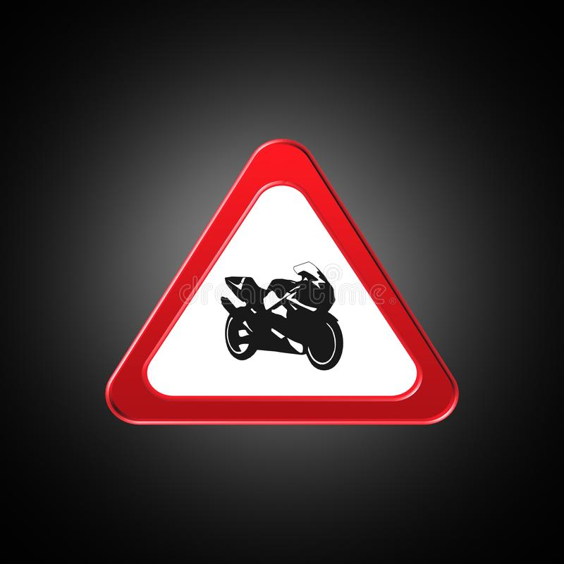 Motorcykel symbol, tecken, bästa illustration 3D royaltyfri illustrationer