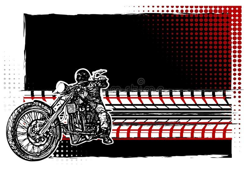 Motorcykelaffischbakgrund royaltyfri illustrationer