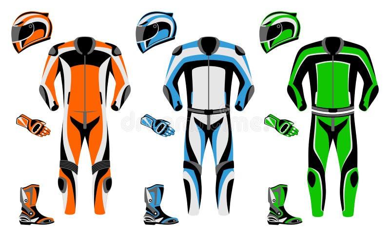 motorcykeldräkt royaltyfri illustrationer