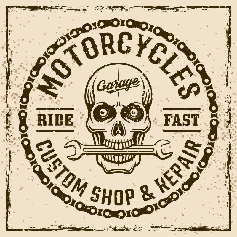 Motorcykelegenn shoppar tappningemblemet med skallen royaltyfri illustrationer