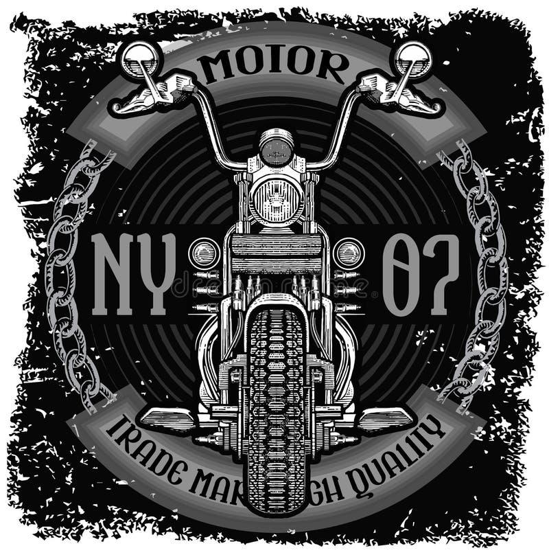 Motorcykeletikettt-skjorta design med illustrationen royaltyfri illustrationer