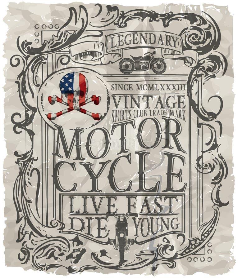 Motorcykeletikettt-skjorta design med illustrationen av beställnings- kotlett stock illustrationer