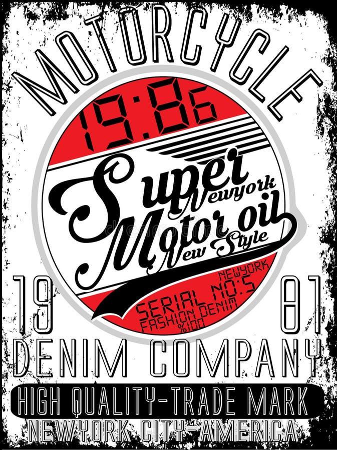 Motorcykelföretagstypografi, t-skjorta diagram, vektorer royaltyfri illustrationer