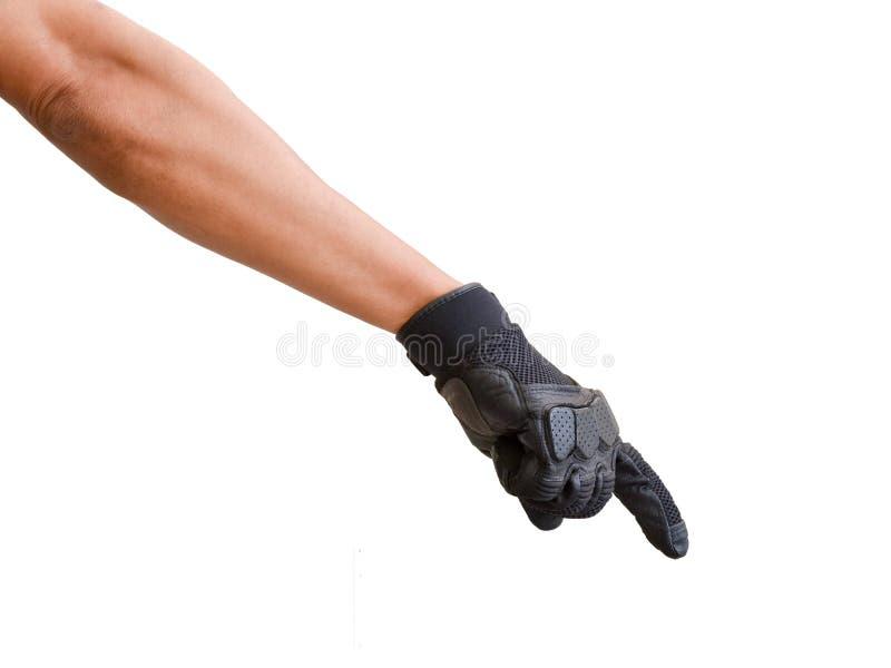 Motorcykelhandske och handsignal att akta sig royaltyfri fotografi