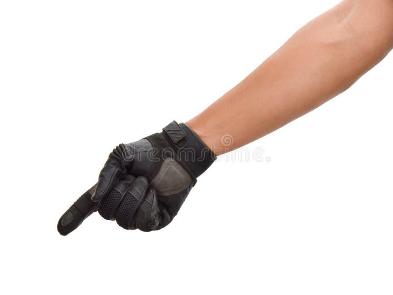 Motorcykelhandske och handsignal att akta sig royaltyfria bilder
