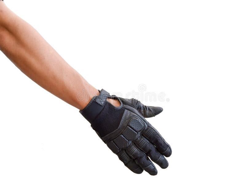 Motorcykelhandske och handsignal att förbigå arkivfoto