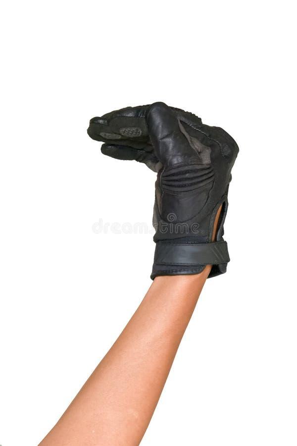 Motorcykelhandske och handsignal att vända vänstert royaltyfria foton